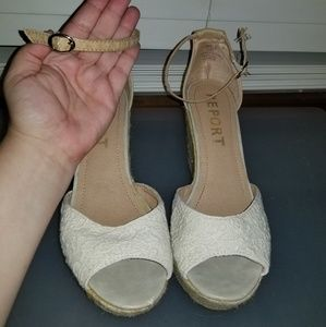 Report Cork Wedge Lace Heels